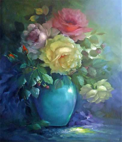 Jenkins, Gary: GJ128 - Roses in a Blue Vase