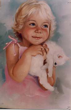 Carole, Mary: MC601 - Girl with Kitten Portrait