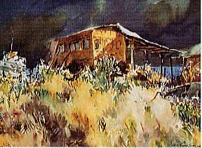 Scott, James Godwin: S5874 - Grasses and Old Bus